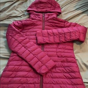 Magenta Pack It Down Long Jacket